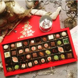 Большая подарочная коробка конфет ручной работы 40 конфет С Новым Годом